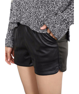 Womens Black High Waisted Faux Leather Shorts Casual Size 6 8 10 12 14 -... - $19.99