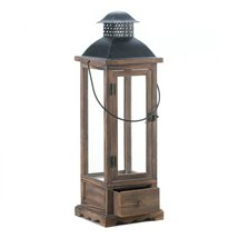 Wood Candle Lantern, Large Decorative Lanterns For Candles Outdoor - £42.85 GBP