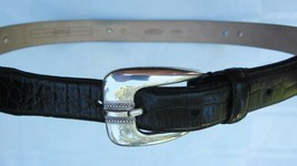 FOSSIL CONCHO BELT CROCO EMBOSSED BLACK LEATHER ENGRAVED HARDWARE Large ... - £14.72 GBP