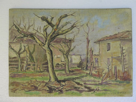 Painting Antique Painting oil Board landscape Countryside IN Autumn p2 - $237.98