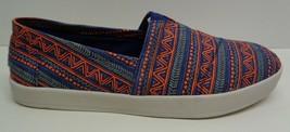 Toms Size 10.5 AVALON Blue Orange Zig Zag Canvas Fashion Sneakers New Me... - $98.01