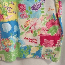 Dickies V-Neck Scrub Top Size L Pink Yellow Blue Beachy Floral Hibiscus Pockets - $13.86