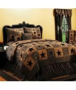 Vintage Star Black King Quilt Bedding Farm House - $285.99