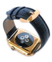 24K Gold 42MM Apple Uhr Series 3 Edelstahl Schwarz Leder Alligator Band - $1,091.57