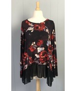 Karen Kane Floral Multicolor Long Sleeves Blouse Size L - $14.24