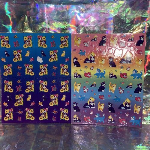 2x Lisa Frank Vintage Stickers Sunflower Kittens Mini Size S686 S673 ONE MISSING