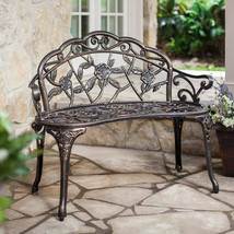 Garden LoveSeat Bench Green Cast Aluminum Patio Outdoor Porch Seat Deck ... - $167.97