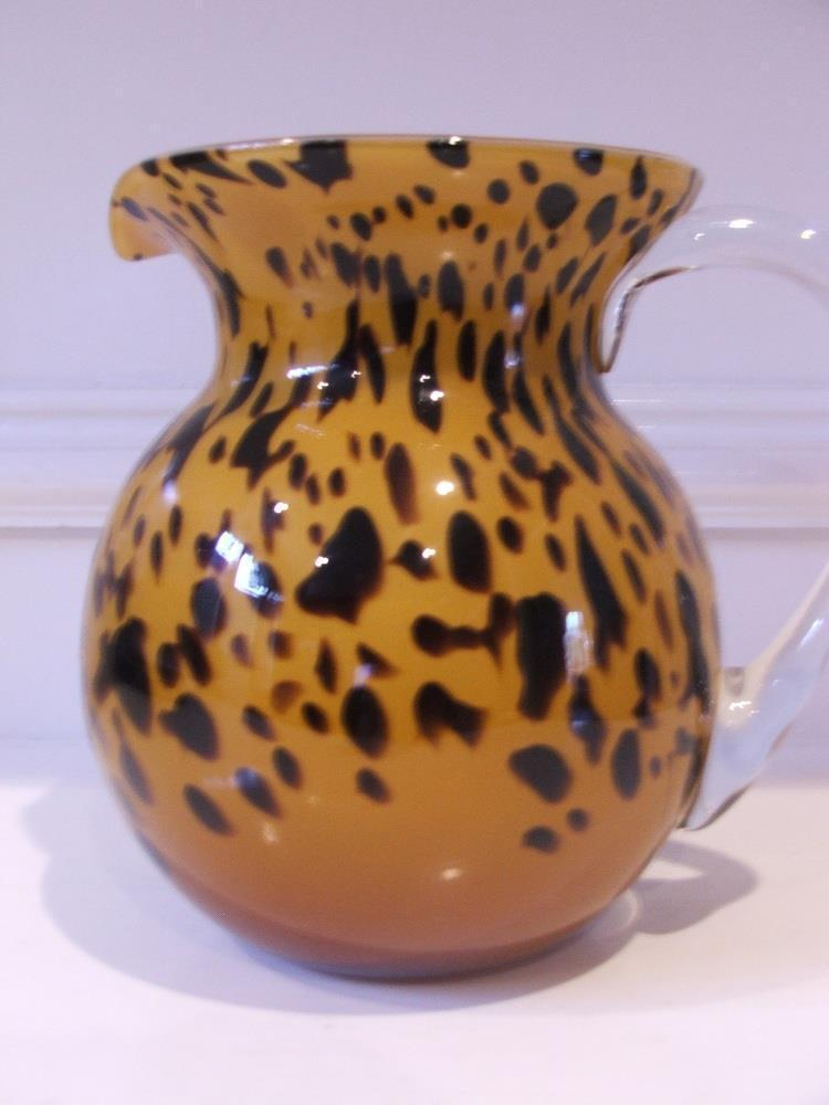Orange with Black Spots Glass Pitcher Unique Blown Glass Attached Clear Handle