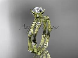 Vine golden engagement ring set, 14k yellow gold diamond vine wedding ring set A - $1,425.00