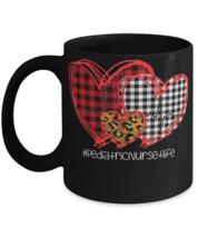 Funny mug for nurse, Buffalo Plaid Hearts Pediatric Nurse Life Heartbeat Mug,  - $14.95