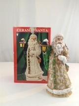 "Vintage Handpainted 12"" Tall Ceramic Santa In White Robe & Lantern Chris... - $16.83"