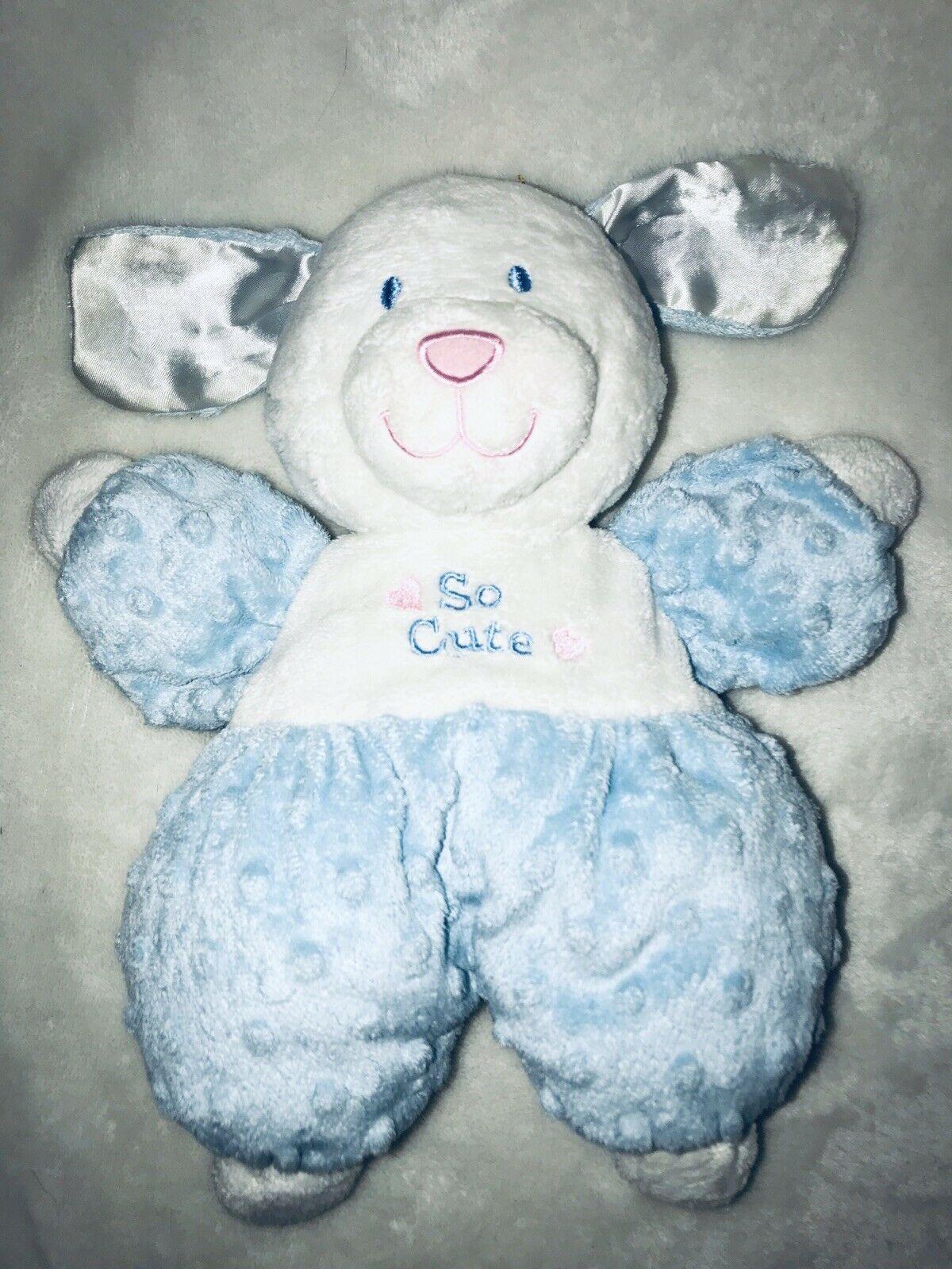 Kids Preferred Blue White So Cute Puppy Dog Minky Dot Plush Stuffed Baby Toy HTF