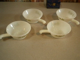 Vintage 4pc FIRE KING Meadow Green Handled Soup Chili Bowls White Milk G... - $22.49