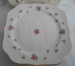 Homer Laughlin Rambler Rose Square SALAD/LUNCH Plates 8 Rare Pink Roses Gold - $67.31