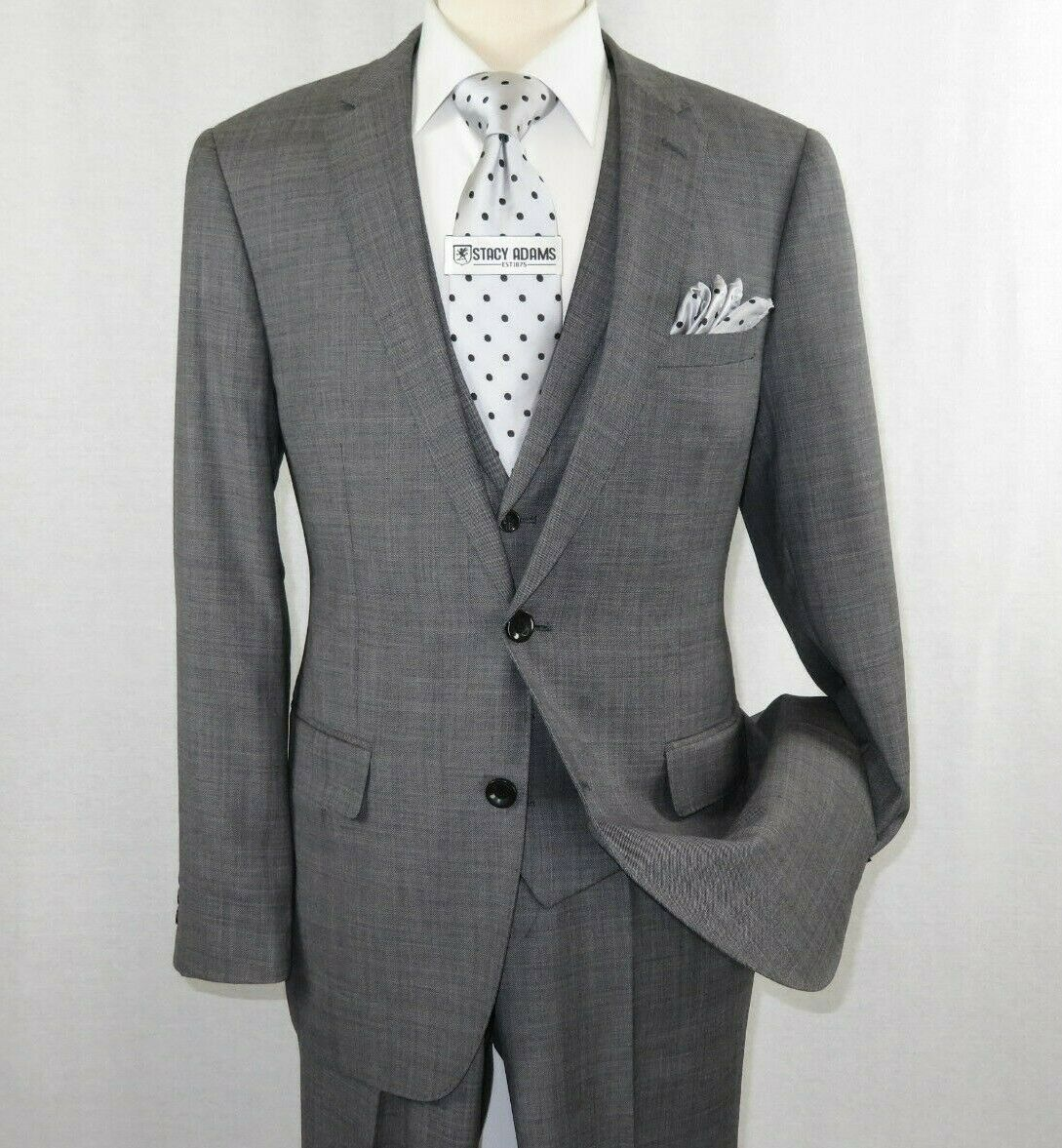 Primary image for Mens Apollo King 3 piece Business Suit Vest with Lapel Sharkskin SL203 Gray New