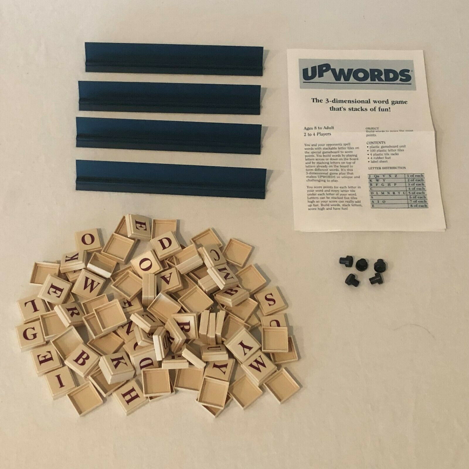 Primary image for UpWords Board Game Replacement Parts Pieces 100 Plastic Letter Tiles Rack Holder