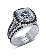 Women's Trio Set Engagement Ring Wedding Band Sets Celebrity Lala Vasque... - $138.70
