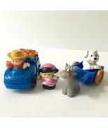 Fisher Price Little People Blue Farm Truck Horse Cart Dog Girl Farmer Fr... - $19.79