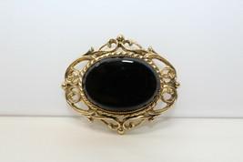 Gorgeous Vintage Goldtone Jet Black Glass Inset Brooch Pin E3 - $17.82