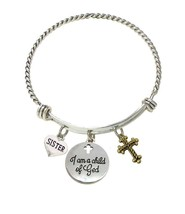 Custom I Am a Child of God Family Charms Silver Wire Cuff Bracelet Jewelry - $15.99