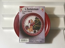 New Christmas Cross Stitch Kit Teddy And Tree Red Tin Whats New Holiday - $16.82