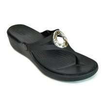 CROCS Sanrah Hammered Womens Size 4 Relaxed Fit Black Wedge Flip Flop Sa... - $30.81