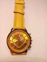 Geneva Bright Yellow Leather Rose Gold Bezel Strap Band Quartz Watch - $6.92