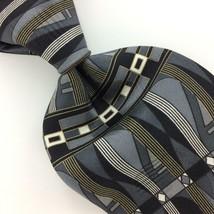 ZYLOS GEORGE MACHADO USA TIE GRAY Black GEOMETRIC Silk Necktie Ties I11-... - $19.79