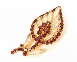 High End Vintage Designer Purple & Opal Rhinestone Gold Plated Flower Pi... - $57.37
