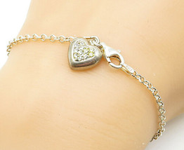 925 Silver - Vintage Cubic Zirconia Pressed Clover Heart Chain Bracelet ... - $25.15