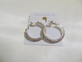 """Charter Club 1-3/8"""" Silver Tone Crystal Hoop Earrings S124 $34 - $10.47"""