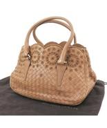 Auth BOTTEGA VENETA Brown Woven and Leather Tote Handbag Purse #31524 - $475.00