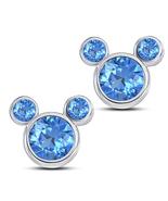 Round Cut Blue Topaz 10k White GP 925 Silver Women's Mickey Mouse Stud E... - $43.60