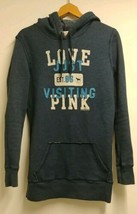 VICTORIA SECRET PINK Womens Pullover Hoodie Sweatshirt Tunic Long Slv Bl... - $34.83