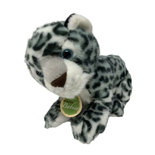 """Aurora Babies Baby Snow Leopard Spotted With Blue Eyes Plush 11"""" Stuffed Animal - $13.50"""