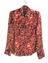 VTG Ellen Tracy TEMU7609 Silk Fall Foliage Print Long Sleeve Top Blouse ... - $37.12
