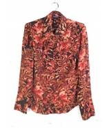 VTG Ellen Tracy TEMU7609 Silk Fall Foliage Print Long Sleeve Top Blouse ... - $46.57