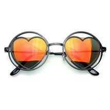 Mujer Metal Redondo Forma Corazón Hippy Circular Gafas de Sol - $8.50