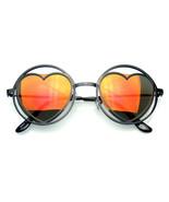 Mujer Metal Redondo Forma Corazón Hippy Circular Gafas de Sol - $8.46