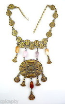 BIG Vintage 1960s Tribal Ethnic Design Goldtone Amethyst Rose Quartz NEC... - $75.96