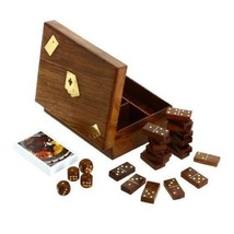 Wooden Domino Dice and Playing Cards, 3 in 1 Box Hand Constructed Safe L... - $120.08