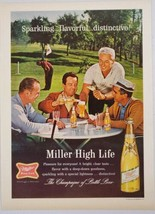 1964 Print Ad Miller High Life Beer Golfers Enjoy a Glass Outside on Course - $16.81