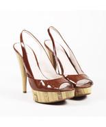 Miu Miu Brown Patent Leather Wooden Platform Pumps SZ 39 - $135.00
