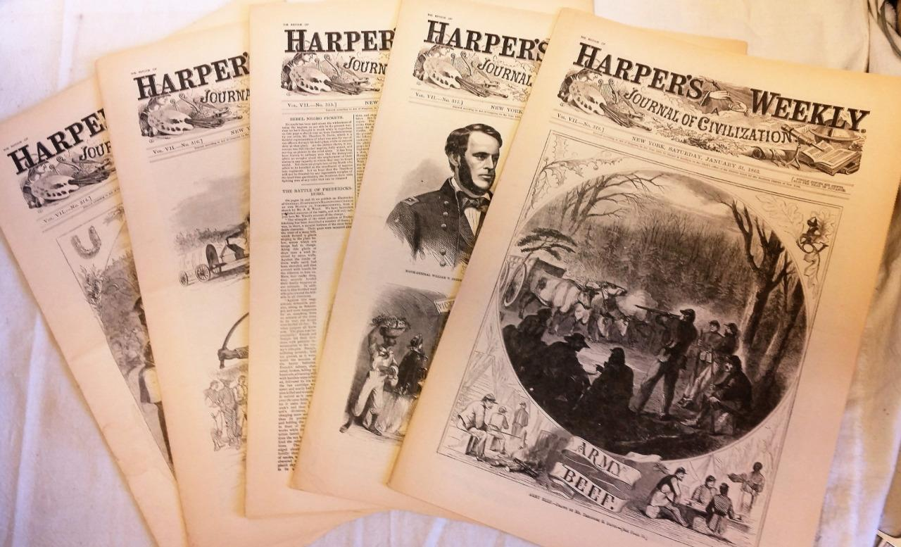 5 Issues January 3 10 17 24 31 1863 Harpers Weekly ReIssued Historic Newspapers