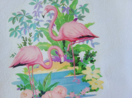 "Vintage Inspired Tropical Flamingo Cotton Flour Sack Tea Towel 15"" x 25"" image 2"