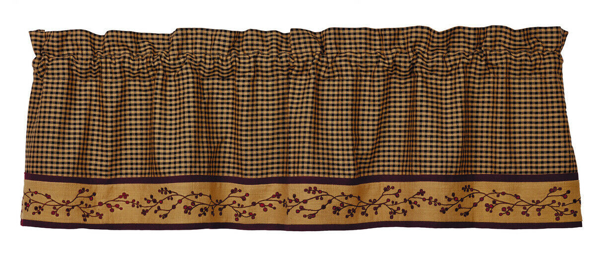 Primary image for country primitive farmhouse tan burgundy black plaid pip Berry VALANCE curtain