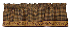 country primitive farmhouse tan burgundy black plaid pip Berry VALANCE c... - $34.95