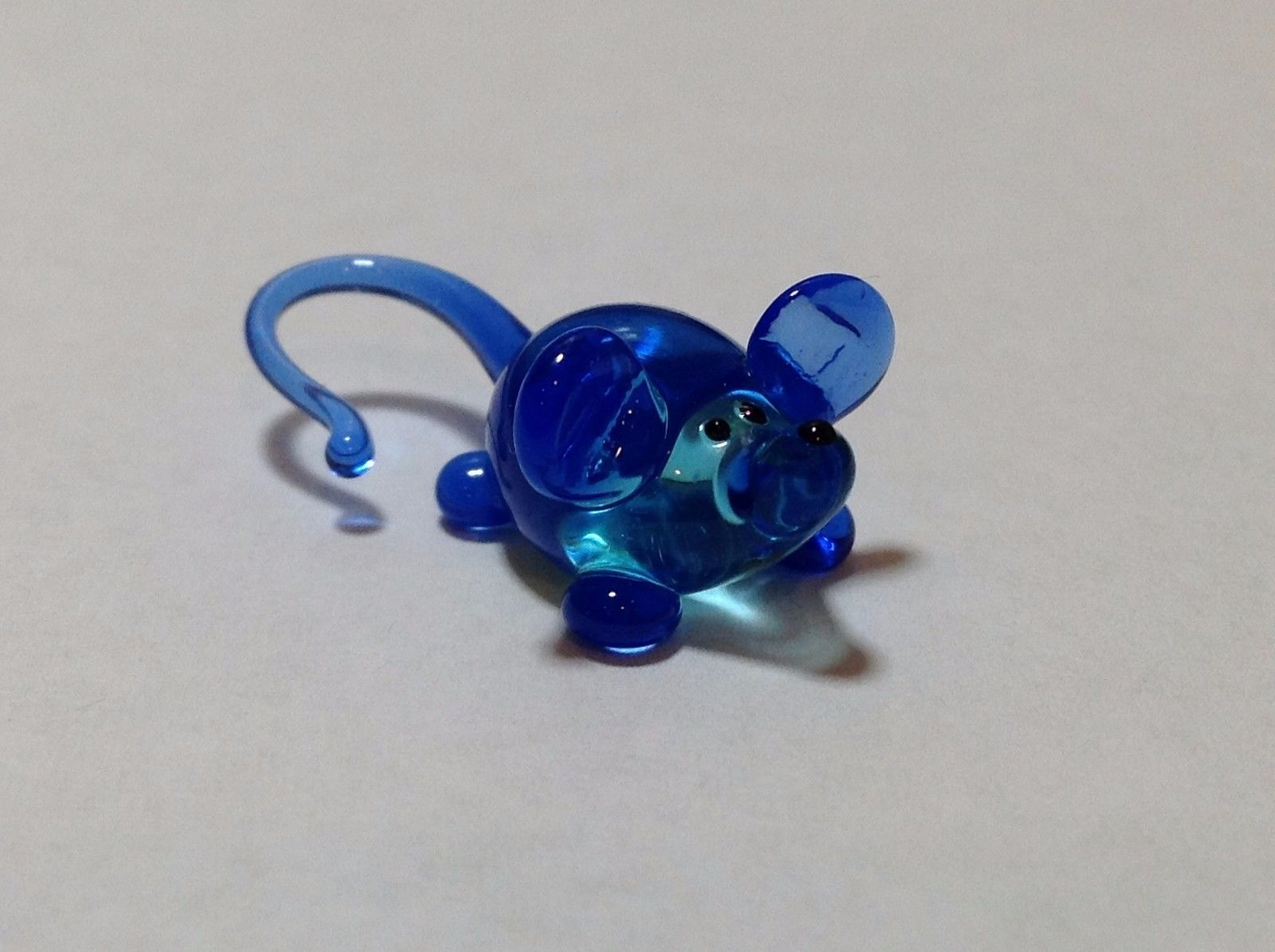 Micro Miniature Glass Animal Blue Mouse Handmade Blown Glass Collectible USA