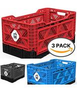 BIGANT Collapsible Heavy Duty Milk Crate Bundle Kit with 1x Large Red, 1... - $125.73
