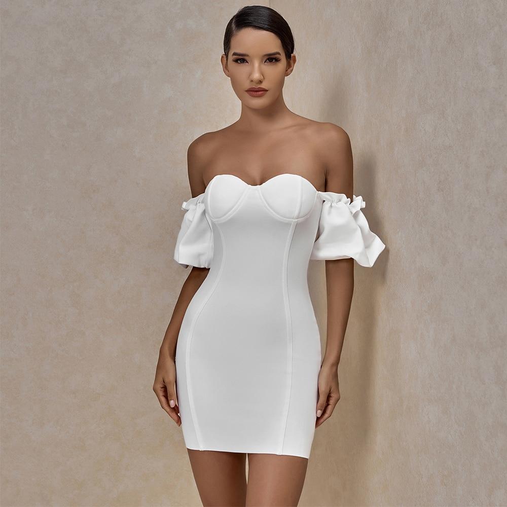 E off shoulder white bandage dress 2020 summer new arrival women mini bandage dress bodycon sexy